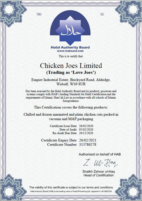 catering love joes cert